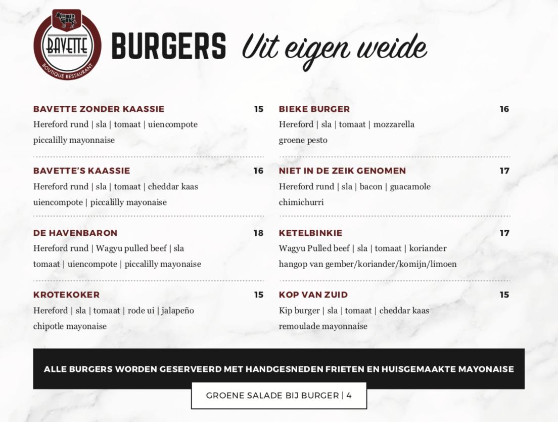 Burgerkaart Bavette